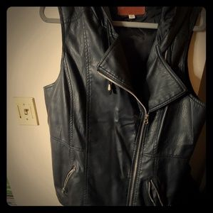 Faux leather vest w/hood